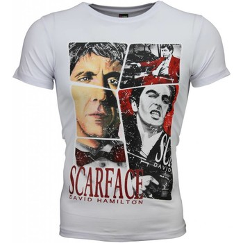 Textiel Heren T-shirts korte mouwen Local Fanatic Scarface Frame Print Wit