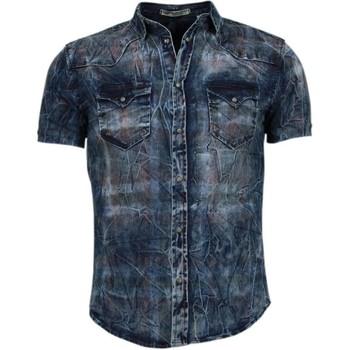 Textiel Heren Overhemden korte mouwen Enos Denim Heren Overhemd - Korte Mouwen - Kleur Print 19