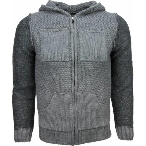 Textiel Heren Vesten / Cardigans Enos Vest Breiwol Capuchon Twee Kleuren Grijs