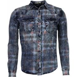 Textiel Heren Overhemden lange mouwen Enos Denim Lange Mouwen Kleur Print Blauw