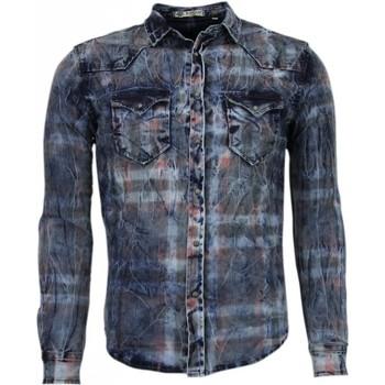 Textiel Heren Overhemden lange mouwen Enos Denim Overhemd - Slim Fit Lange Mouwen Heren - Kleur Print 19