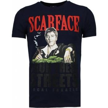 Textiel Heren T-shirts korte mouwen Local Fanatic Scarface Boss - Rhinestone T-shirt Blauw