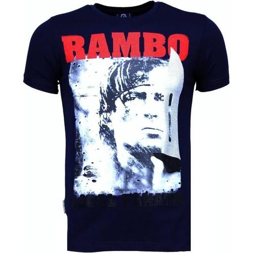 Textiel Heren T-shirts korte mouwen Local Fanatic Rambo Rhinestone Blauw