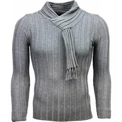 Textiel Heren Truien Justing Sjaalkraag Strepen Motief Grijs