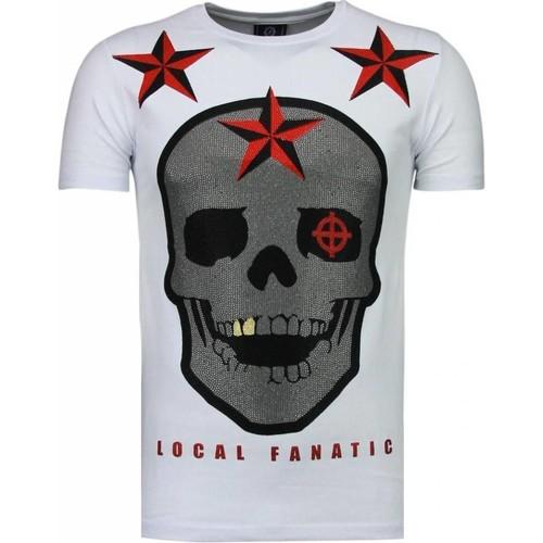 Textiel Heren T-shirts korte mouwen Local Fanatic Rough Player Skull Rhinestone Wit