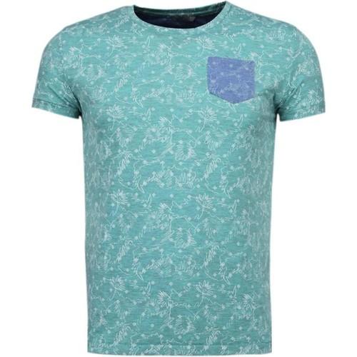 Textiel Heren T-shirts korte mouwen Bn8 Black Number Blader Motief Summer Turquoise