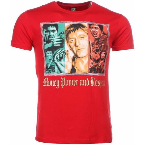 Textiel Heren T-shirts korte mouwen Local Fanatic Scarface Money Power Respect Print Rood