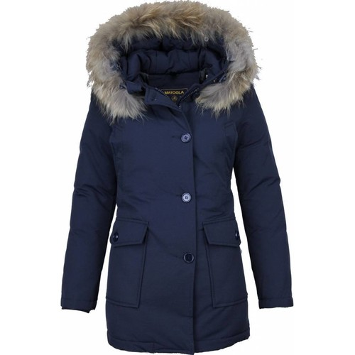 Textiel Dames Parka jassen Matogla Winterjas Wooly  Bontkraag Parka Steekzakken Blauw