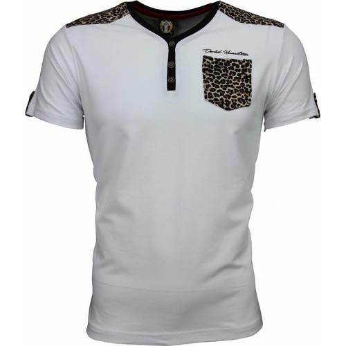 Textiel Heren T-shirts korte mouwen David Copper Tijger Print Motief Wit