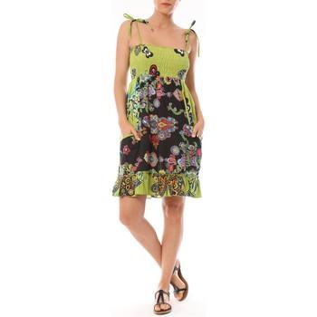 Textiel Dames Korte jurken By La Vitrine Robe Bretelle Kolossi imprimée Fleurs Groen