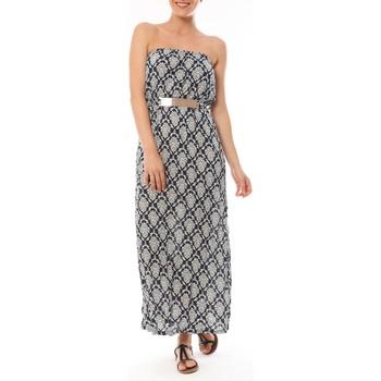 Textiel Dames Lange jurken Dress Code Robe Longue 9597 Bleu imprimée fleurs Blauw