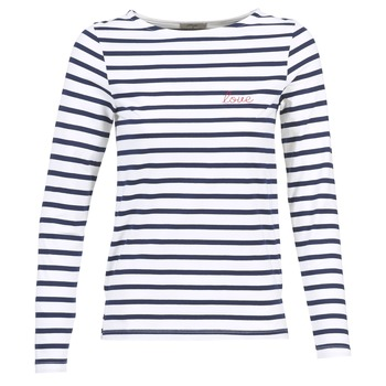 Textiel Dames T-shirts met lange mouwen Betty London FLIGEME Wit / Blauw