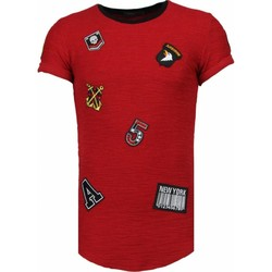 Textiel Heren T-shirts korte mouwen John H Exclusief Military Patches - T-Shirt Bordeaux