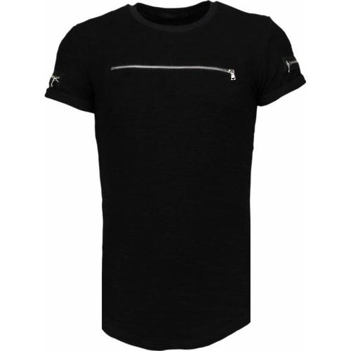 Textiel Heren T-shirts korte mouwen John H Exclusief Zipped Chest - T-Shirt Zwart