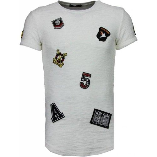 Textiel Heren T-shirts korte mouwen Justing Military Patches Wit