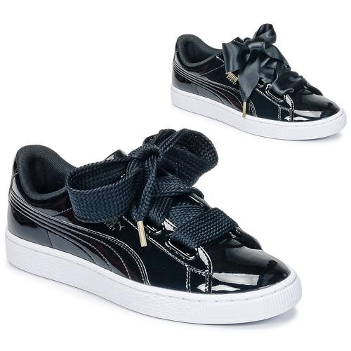 Schoenen Dames Lage sneakers Puma BASKET HEART PATENT WN'S Zwart / Lak