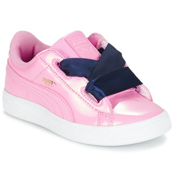 Schoenen Meisjes Lage sneakers Puma BASKET HEART PATENT PS Roze / Marine