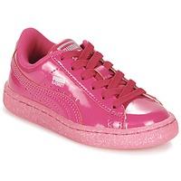 Schoenen Meisjes Lage sneakers Puma BASKET PATENT ICED GLITTER PS Roze