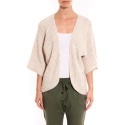 Textiel Dames Vesten / Cardigans Barcelona Moda Gilet Ecru argentée manche 3/4 Wit