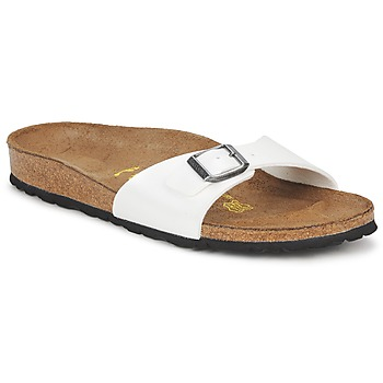 Schoenen Dames Leren slippers Birkenstock MADRID Wit / Parel