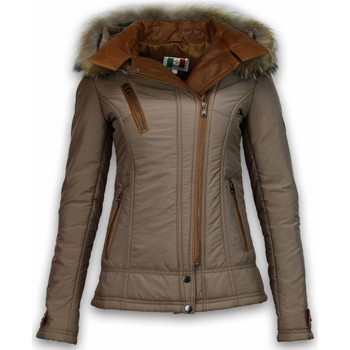 Textiel Dames Wind jackets Milan Ferronetti Bontjassen - Dames Winterjas Kort - 3 Ritsen Met Lederstuk 28
