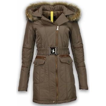 Textiel Dames Parka jassen Milan Ferronetti Winterjassen - Dames Winterjas Lang - Schuin Rits Met Steekzakke 6887