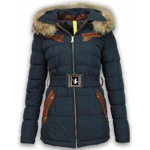 Textiel Dames Dons gevoerde jassen Milan Ferronetti Winterjassen Winterjas Lang Leerstuk Steekzakken Riem Blauw
