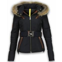 Textiel Dames Parka jassen Milan Ferronetti Winterjassen - Dames Winterjas Kort - Leerstuk 4 Zakken Met Riem 38