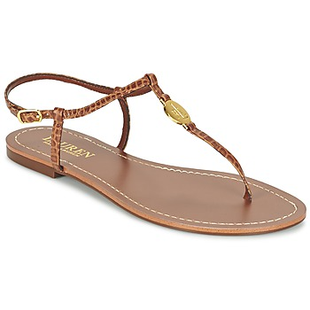 Schoenen Dames Teenslippers Ralph Lauren AIMON SANDALS CASUAL Camel