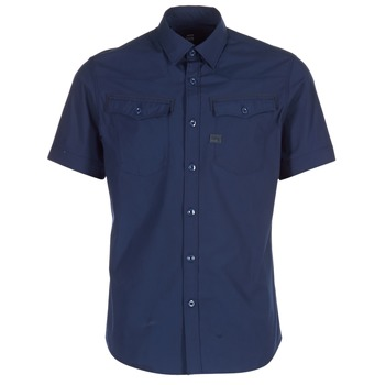 Textiel Heren Overhemden korte mouwen G-Star Raw 3301 SHIRT Marine