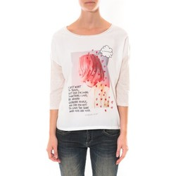 Textiel Dames T-shirts met lange mouwen Coquelicot Tee shirt   Blanc 16425 Wit