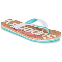 Schoenen Dames Teenslippers Superdry CORK COLOUR POP FLIP FLOP Wit / Roze / Blauw
