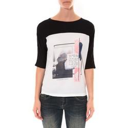 Textiel Dames T-shirts met lange mouwen Coquelicot Tee shirt  Noir & Blanc 16409 Zwart