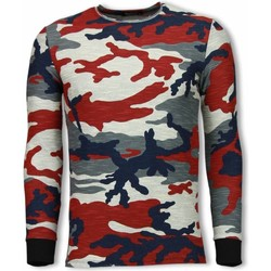 Textiel Heren Sweaters / Sweatshirts Uniplay Army Shirt Zipped Back - Long Fit Sweater Blauw, Rood, Beige