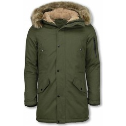 Textiel Heren Parka jassen Enos Winterjassen - Heren Winterjas Lang - Kunstkraag - Army 25