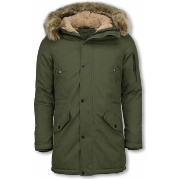 Textiel Heren Parka jassen Enos Bontjassen - Heren Winterjas Lang - Nep Bontkraag - Army 25