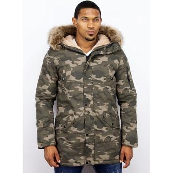 Textiel Heren Parka jassen Enos Bontjassen - Heren Winterjas Lang - Nep Bontkraag - Camouflage 25