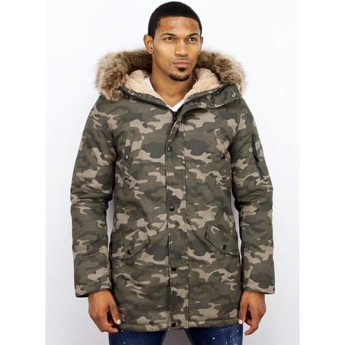 Textiel Heren Parka jassen Enos Winterjas Faux Bontkraag Camouflage Groen