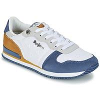 Schoenen Dames Lage sneakers Pepe jeans GABLE ANGLAISE SOUL Wit / Blauw / Grijs