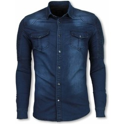 Textiel Heren T-shirts & Polo's Diele & Co Biker Denim Shirt - Slim Fit Ribbel Schoulder 19