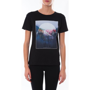 Textiel Dames T-shirts korte mouwen Coquelicot T-shirt  Noir 16423 Zwart