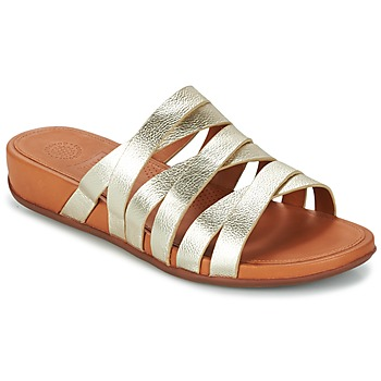 Schoenen Dames Leren slippers FitFlop LUMY LEATHER SLIDE Goud
