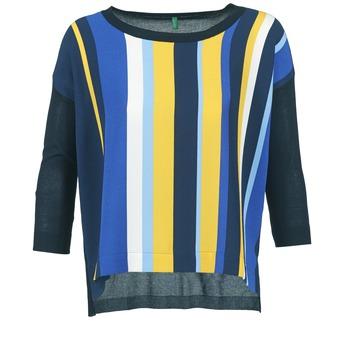 Textiel Dames Truien Benetton OVEZAK Blauw / Geel / Wit