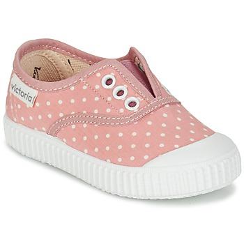 Schoenen Meisjes Lage sneakers Victoria INGLESA LUNARES ELASTICO Roze / Wit