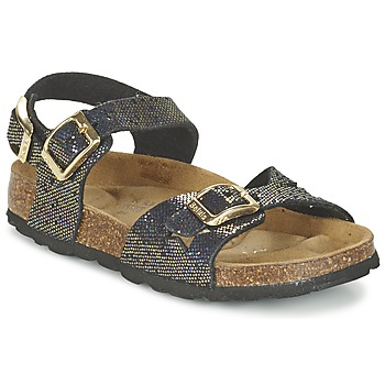 Schoenen Meisjes Sandalen / Open schoenen Betula Original Betula Fussbett JEAN Zwart / Goud