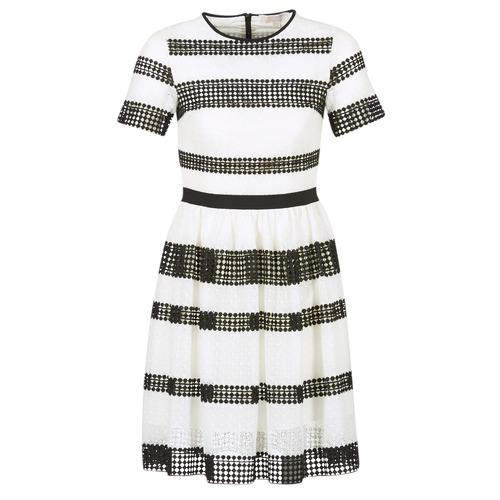 Textiel Dames Korte jurken MICHAEL Michael Kors GRAPHIC CR STRIPE DRS Zwart / Wit