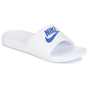 Schoenen Heren Leren slippers Nike BENASSI JUST DO IT Wit / Blauw