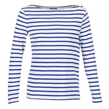 Textiel Dames T-shirts met lange mouwen Petit Bateau FIX Wit / Blauw