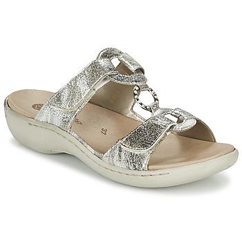 Schoenen Dames Leren slippers Remonte Dorndorf TARDESSO Zilver