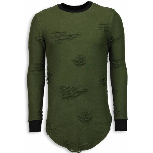 Textiel Heren Sweaters / Sweatshirts Justing Destroyed Look Long Fit Groen